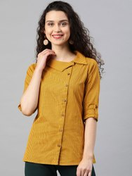 Striped Mustard Cotton Flex Printed Shirt