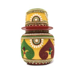 Steel,Copper Stone Work Decorative Traditional Puja Kalash, Size: 5 Inch