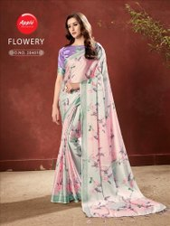 Flowery Digital Printed Silk Saree