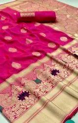 Marina Zardozi Work Silk Sarees, 6.3 m (with blouse piece)