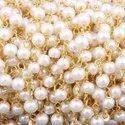 White Pearl Gemstone Beaded Chain