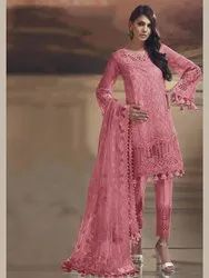 Pr This Pretty Straight Suit In Pink Color Paired With Pink Colored Bottom And Dupatt