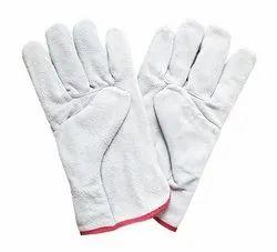 Industrial White Leather Gloves, 1 Inch, Finger Type: Full Fingered