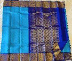 Blue On Purple Color Silk Saree