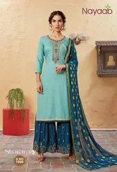 Nayaab Stunning Turquoise Sharara Suit