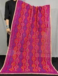 Designer Chanderi Silk Phulkari Dupatta