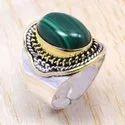 925 Sterling Silver And Brass Jewelry Larimar Gemstone Ring SJWR-112