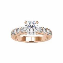 Round Cut Full White Moissanite Ring White,Yellow Rose Gold For Engagement, Wedding