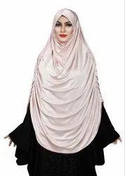 Satin Lycra Plain Long Chaderi Hijab With Naqab & Frills Style