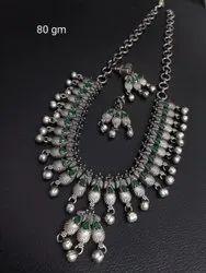 Antique Silver Finish Long Necklace  Set