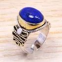 Lapis Lazuli Gemstone Wholesale 925 Sterling Silver And Brass Jewelry Finger Ring Sjwr-158