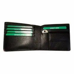 Black Mens Bi Fold Leather Wallet