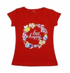RED & GREEN & SKY SIMPLES ONE COLOR PRINTED TOP FOR GIRLS