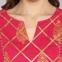 Janasya Women's Pink Pure Cotton Kurta With Pant(SET025)