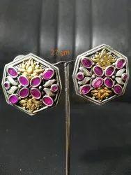 Dual Tone Oxidized  Earrings