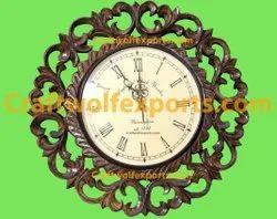 Natural Mango Wood Leaf Wall Clock, Size: 18 Inch Diameter