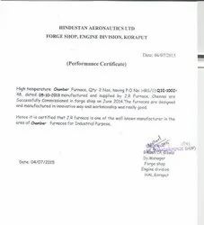 HAL PERFORMANCE CERTIFICATE