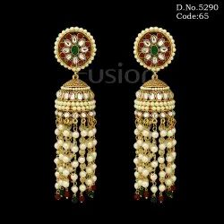 Ethnic Traditional Pearl Beaded Hanging Jhumka Earrings