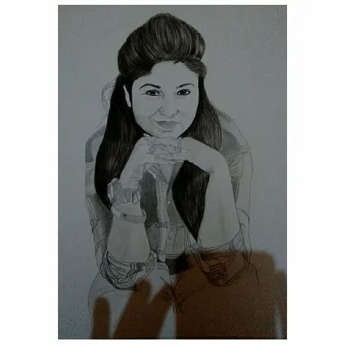 Black And White Paper A3 Size Charcoal Potrait Sketch