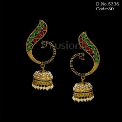 Traditional Peacock Design Jhumka Earrings