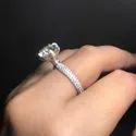 Round Cut Full White Moissanite Ring White Yellow Rose Gold For Engagement Wedding