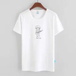 Ladies Printed White Casual T-Shirt