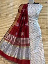 cotton silk Maheshwari block print top and dupatta sets