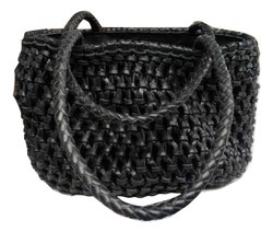 MON EXPORTS Black Woven Leather Macrame Tote