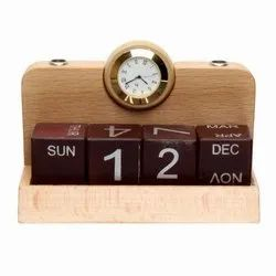 Analog Brown wooden table tops clock with calendar, Shape: Square, Size: 15cm X 6cm X 10 Cm (l X B X H)