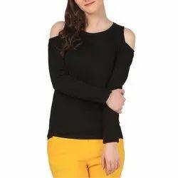 Punay Black Lycra Plain Ladies T-Shirt