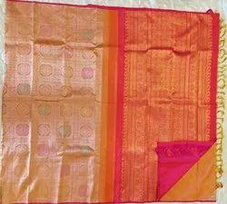 Desaturated Orange & Grayish Yellow Color Silk Saree