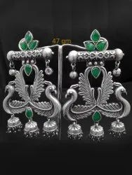Traditional Oxidized Bird Earring