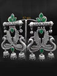 Traditional Oxidized Bird Earring