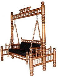 Sankheda Handicraft Golden & Black Wooden Swing With Stand