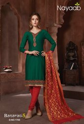 Nayaab Bold B.Green Kurta With Trendy Banarasi Dupatta