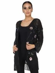 Embroidered Polyester Georgette Black Shrug With Embroidery And Tassels, Age Group: 30-50