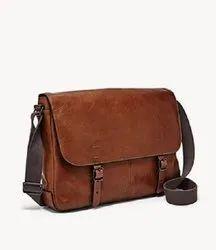 Plain Brown Leather Messenger Bag, Size: 6l X 3.5w X 12h