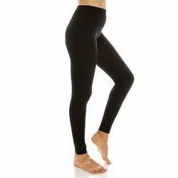 Crystaa Black Ladies Plain Cotton Lycra Legging