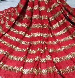 Machine Georgette Sequins Embroidered Fabric