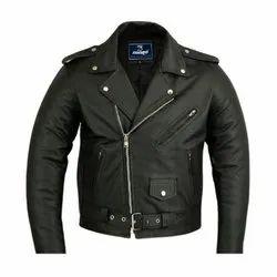 Male Black Biker Leather Jacket