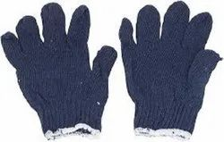 Blue Cotton Knitted Seamless Gloves