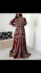 Red Embroidery Wedding Dress Morroco Kaftans, Size: Free