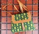 Hand Handled Cotton And Leather Sling Bag, For Casual Wear