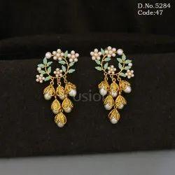 Designer Traditional Leaf Design Pearl Hanging Handmade Earrings