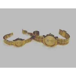 Analog Golden Sea Star Couple Metal Round Wrist Watch