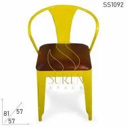 Suren Space Yellow Iron Restaurant Chairs, Size: 57 X 57 X 81 Cm, Seating Capacity: Single