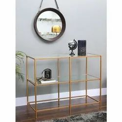 Iron & Glass Brown Console Table