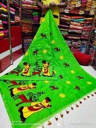 Green Handmade Printed Saree, 5.5 m (separate blouse piece)