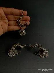 Women Black Old German Silver Earring