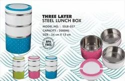 Three Layer Steel Lunch Box, For Offices, Capacity: 2000 Ml